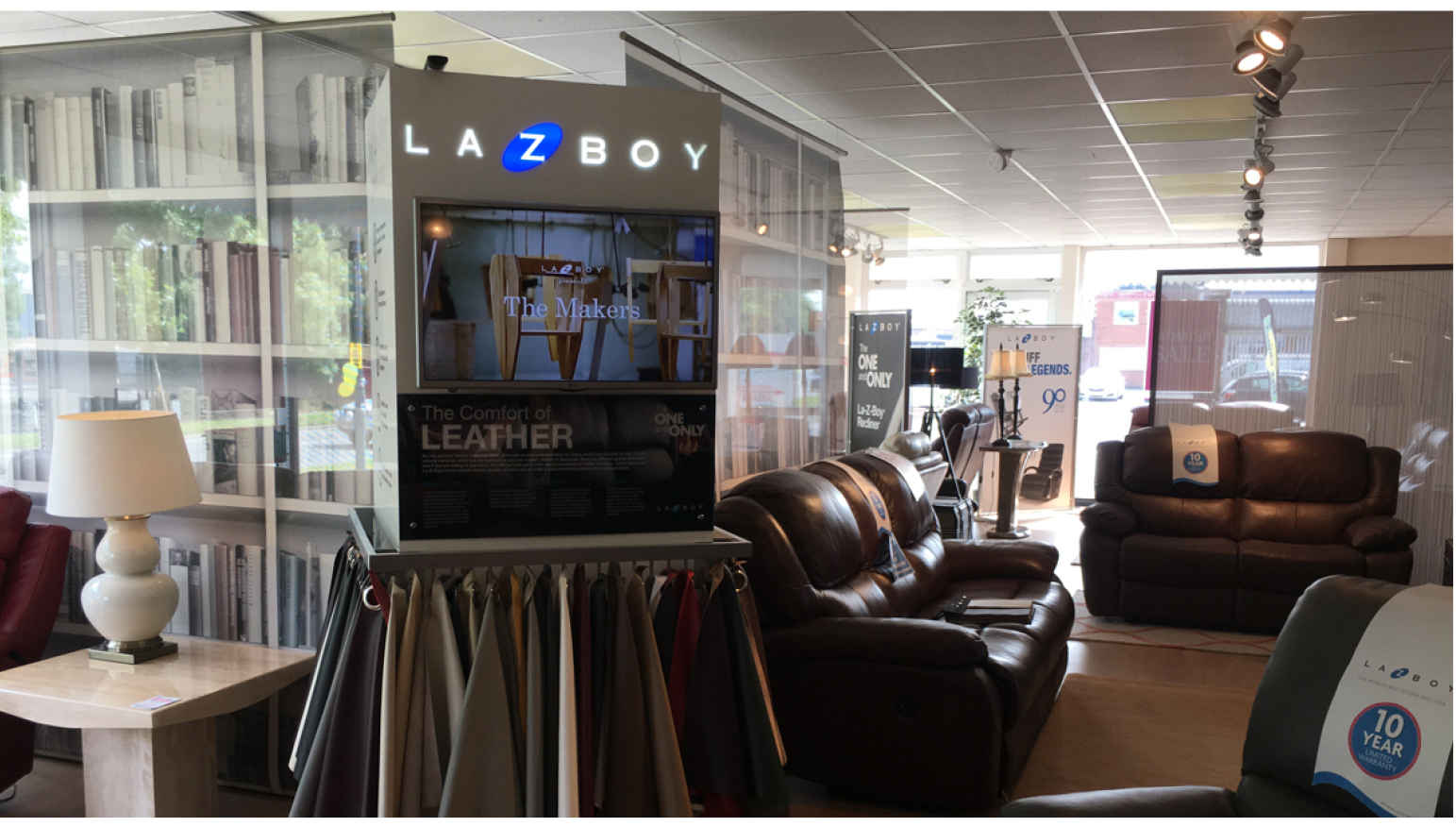 photograph of lazyboy retail column and concession in store