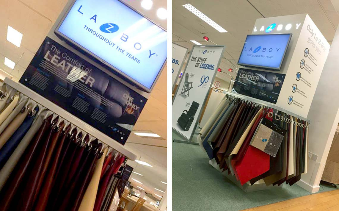 images of cirka creatives retail fixture for lazyboy in store