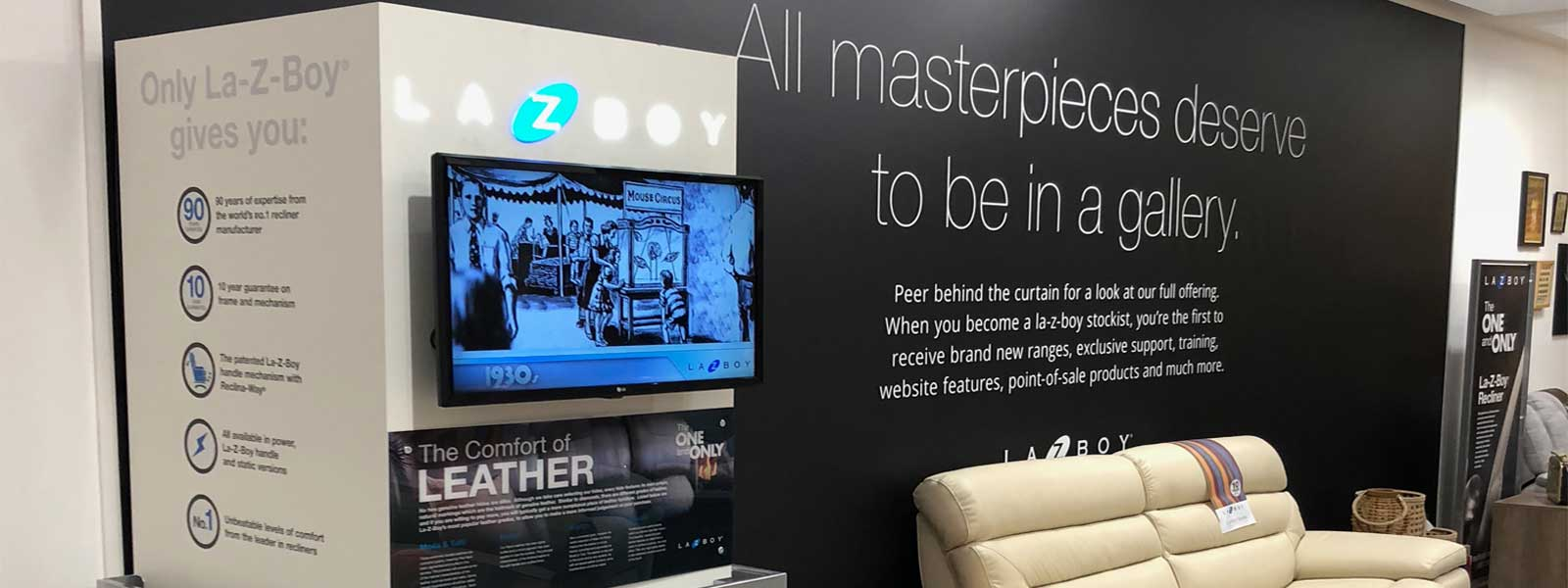 images of cirka creatives retail column for lazyboy at the furniture show