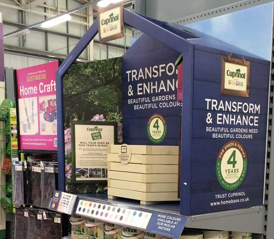 photograph of a Cuprinol shades cardboard retail display in Homebase